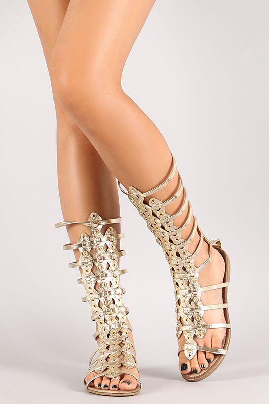 2882567296a0f Myra-02 Metallic Studded Strappy Gladiator Mid-Calf Flat Sandal ...