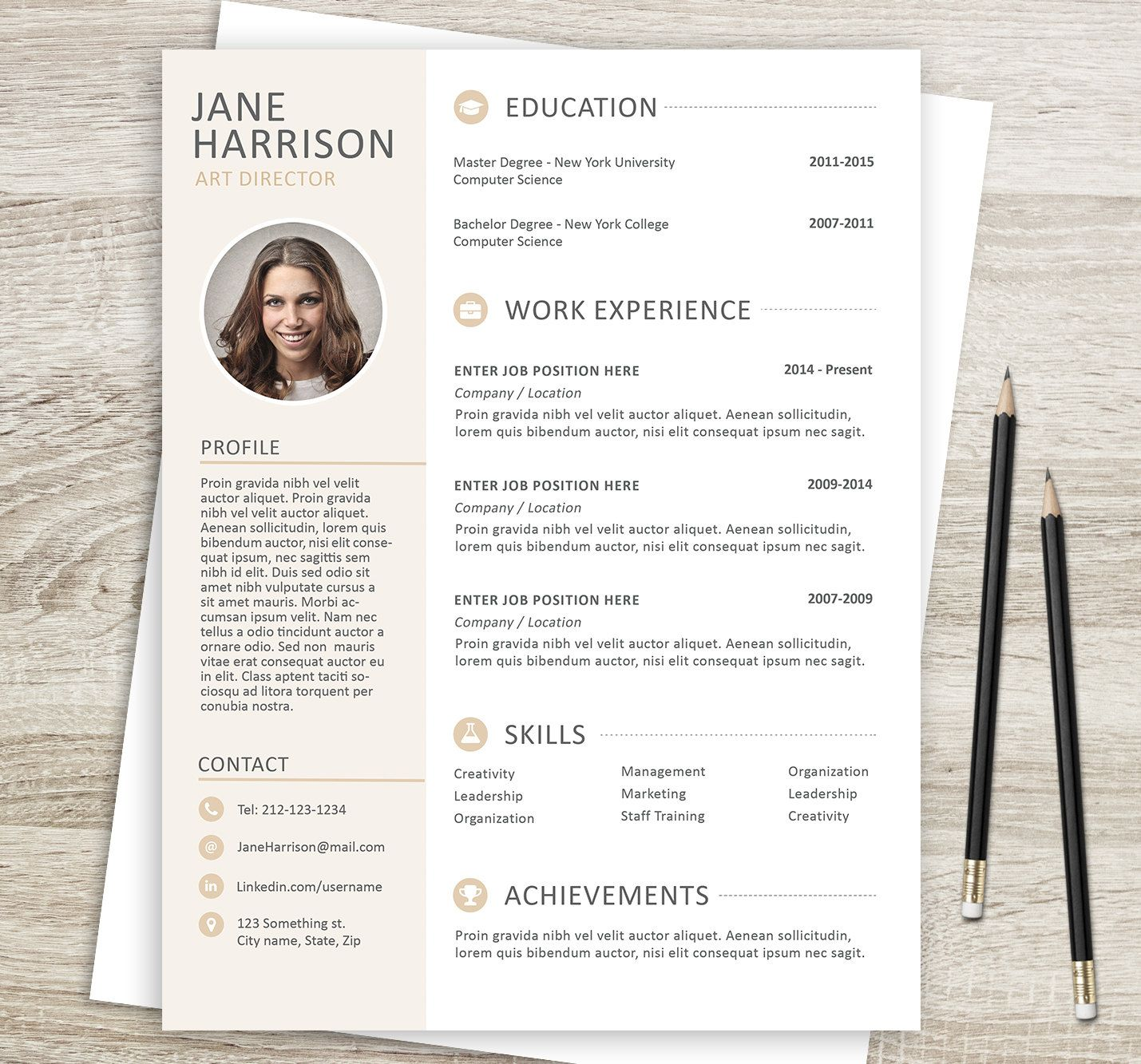 Modern Resume Template  With Matching Cover Letter  Modern Cv