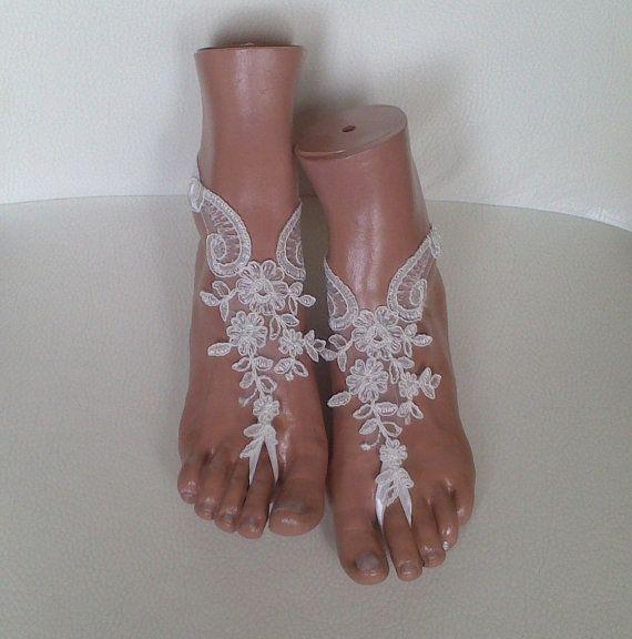 1915af55ddfe33 Free ship ivory wedding barefoot sandles wedding by GlovesByJana ...