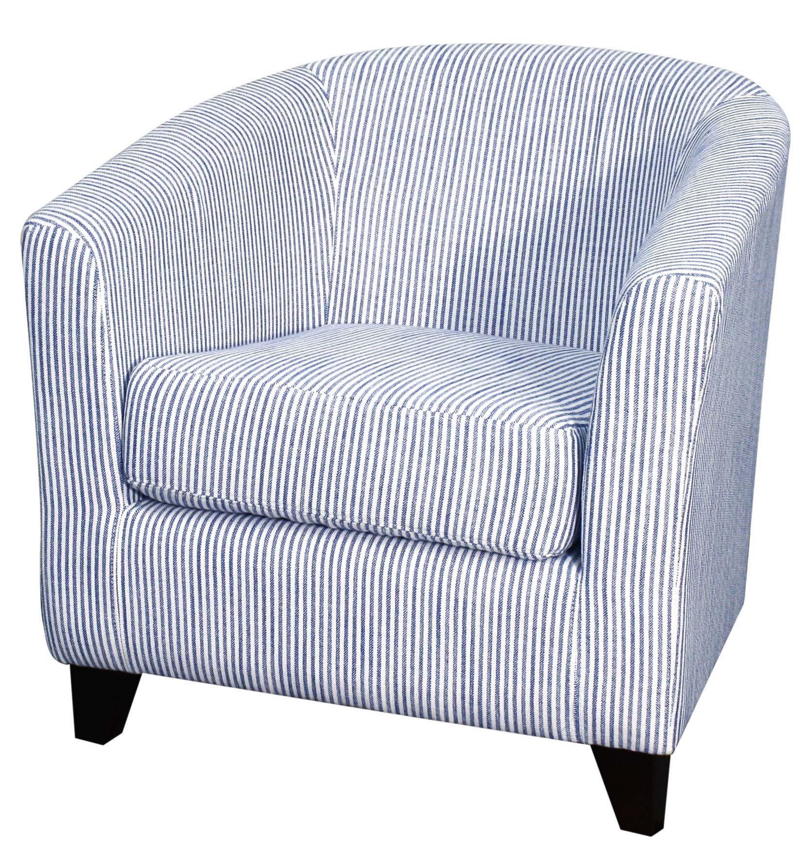 Hayden Fabric Tub Chair Black Legs, Blue Stripes | Products ...