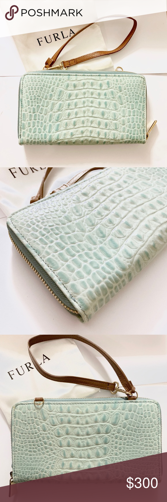 Sale Furla Crocodile Embossed Leather Wallet Leather Wallet Embossed Leather Furla Bags