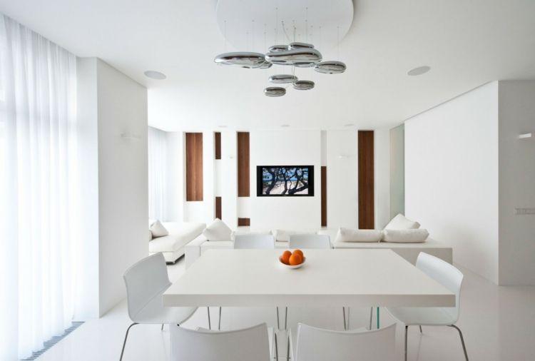 Minimalistische Einrichtungsideen für weißes Esszimmer Design