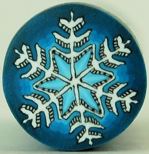 White Snowflake on Blue Polymer Clay Cane
