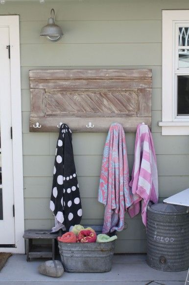 Towel Rack By The Back Door Plenty Of Time To Make Install Before Pool Season