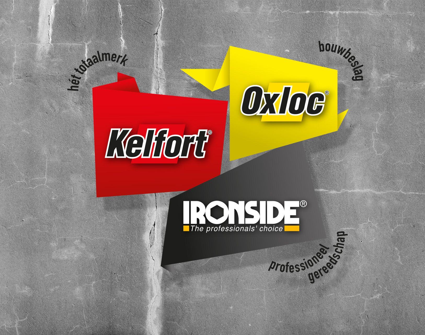 Illustratie 3 logo's Kelfort, Oxloc & Ironside