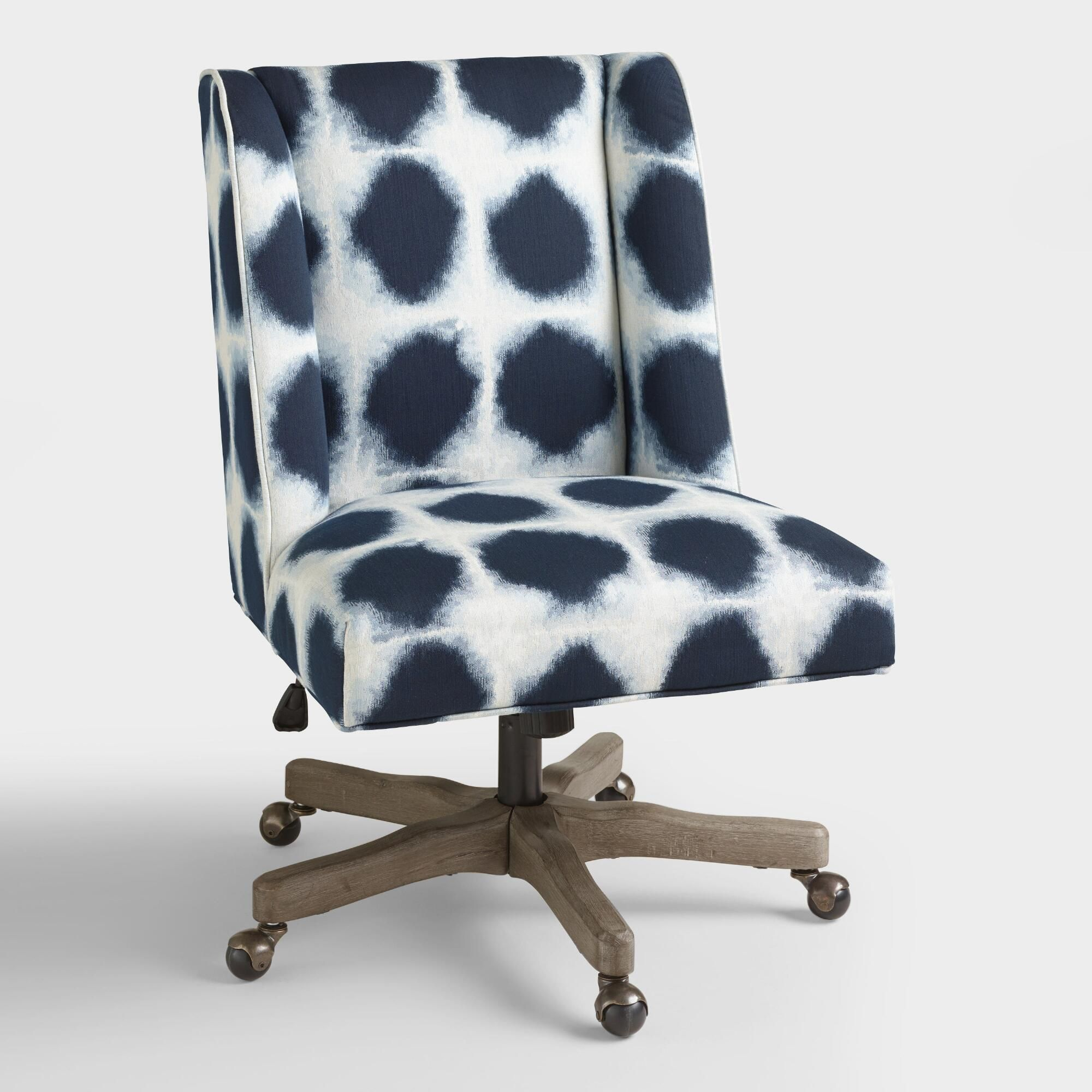 Decals For Baby Room, With An Updated Wingback Profile And Indigo Blue And White Abstract Patterned Fabric Upholstery Ou Upholstered Office Chair Office Chair Home Office Furniture