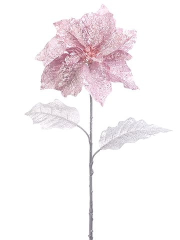 Artificial Glittered Poinsettia In Mauve Pink 26 Tall Christmas Wedding Bouquets Holiday Flower Poinsettia