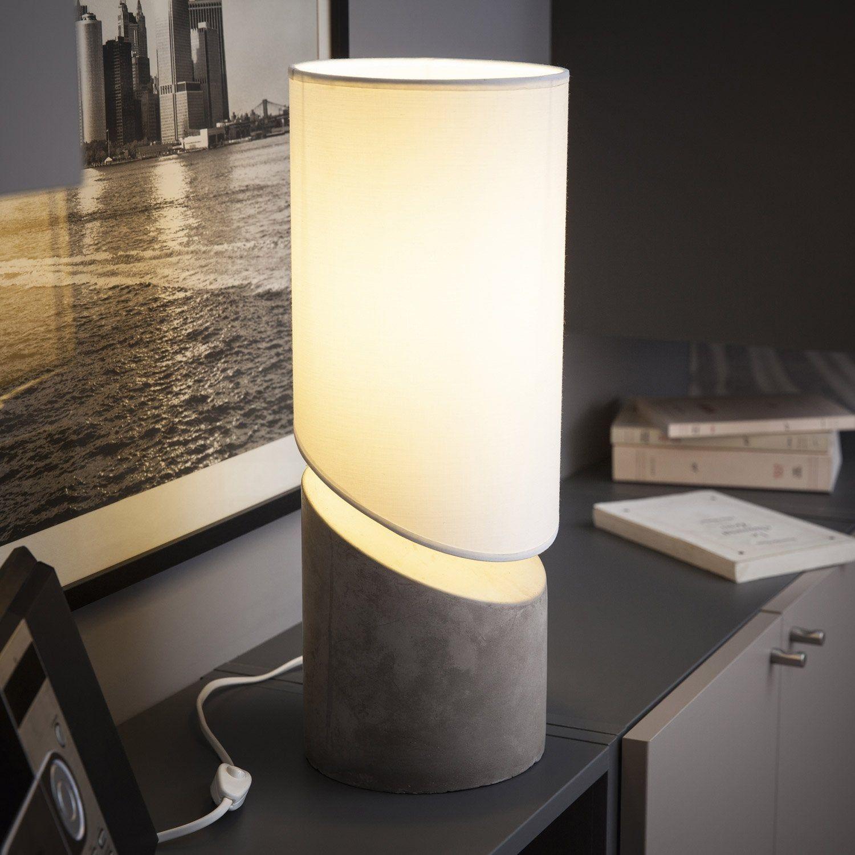 Lampe E27 Merlin Metropolight Coton Sur Pvc Blanc 60 W Lampe Lampe De Chevet Lampe En Beton