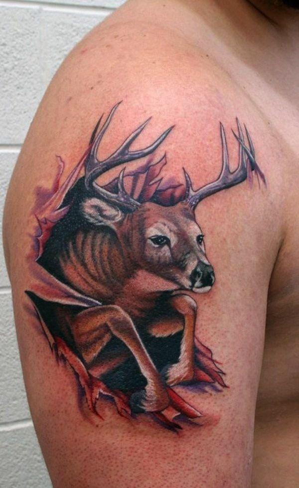 40 Inspiring Deer Tattoo Designs You May Fall In Love With Deer Hunting Tattoos Deer Tattoo Designs Deer Skull Tattoos