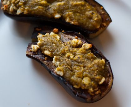 Baked Eggplants With Tomatillo Salsa And Feta My Recipes