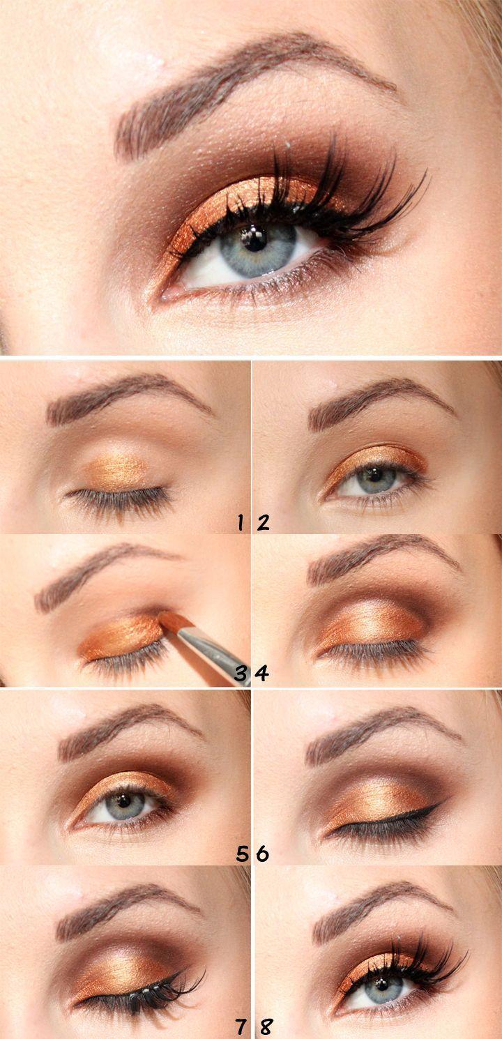 Gold eye makeup tutorial maqllj pinterest gold eye makeup gold eye makeup tutorial baditri Images