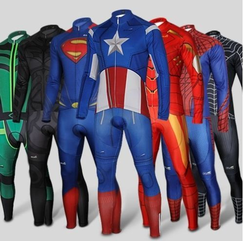 Spiderman Captain America Superman long Sleeve Bike Cycling Jersey+Pants  Short  69adcf1c8