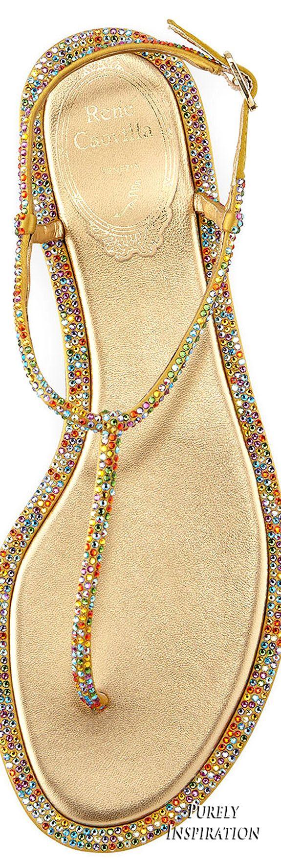 Rene Caovilla Flat Jewel Embellished Thong Sandal | Purely Inspiration