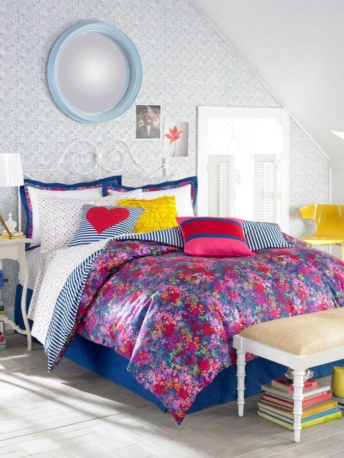 Wandgestaltung Ideen Schlafzimmer Wandspiegel Mädchenzimmer Farbige  Bettwäsche