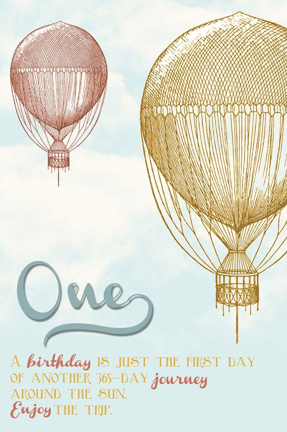 Vintage Hot Air Balloon Birthday Party by OhHappinessCards on Etsy