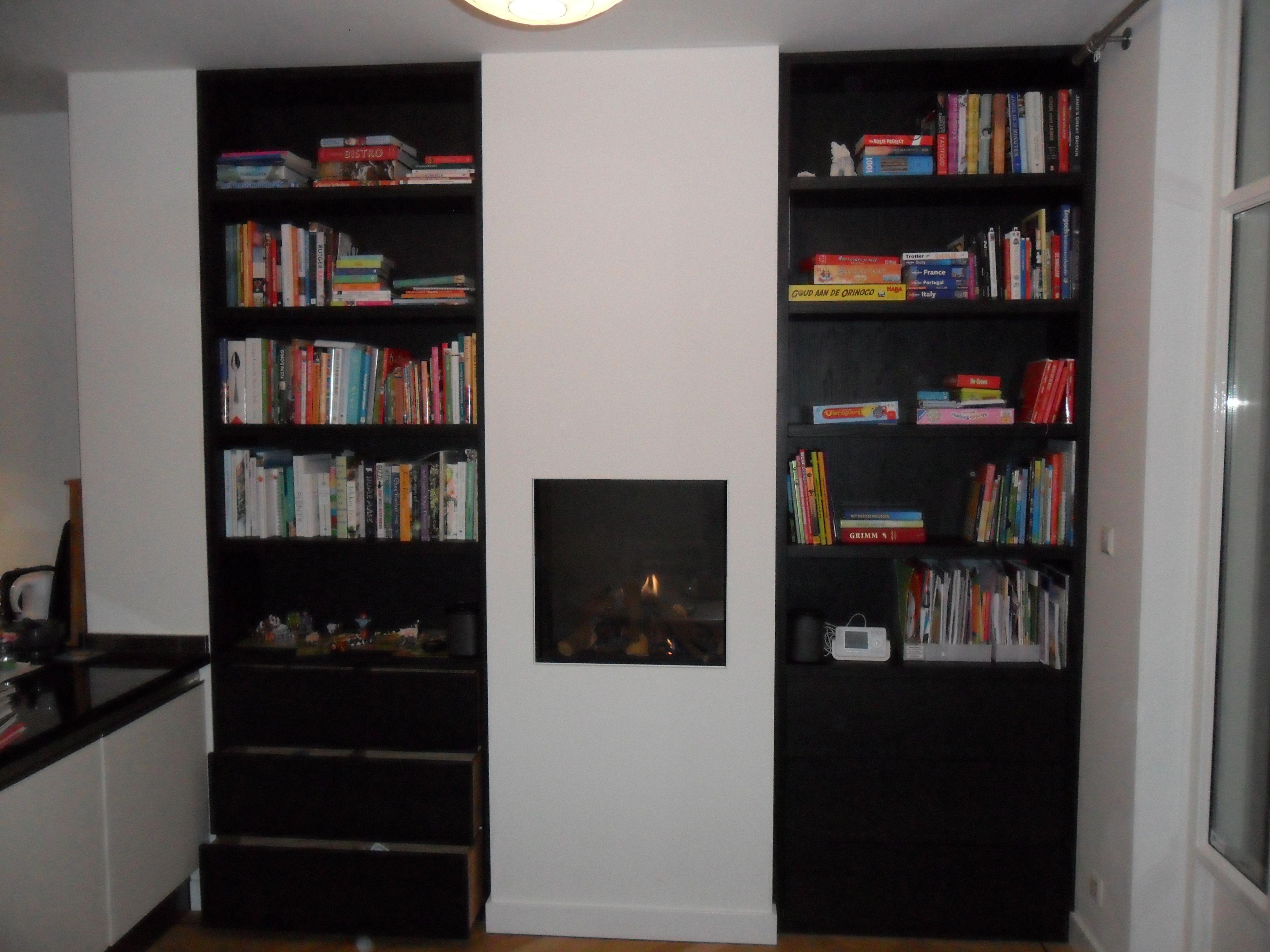 boekenkast open haard gashaard ombouw lades op maat landelijk stoer ...