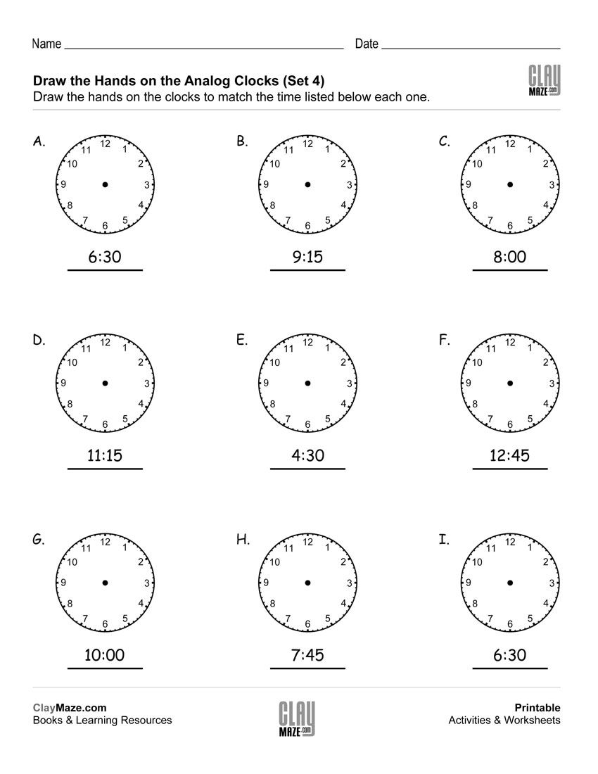 Draw The Hands On The Analog Clocks Set 4 Time Worksheets