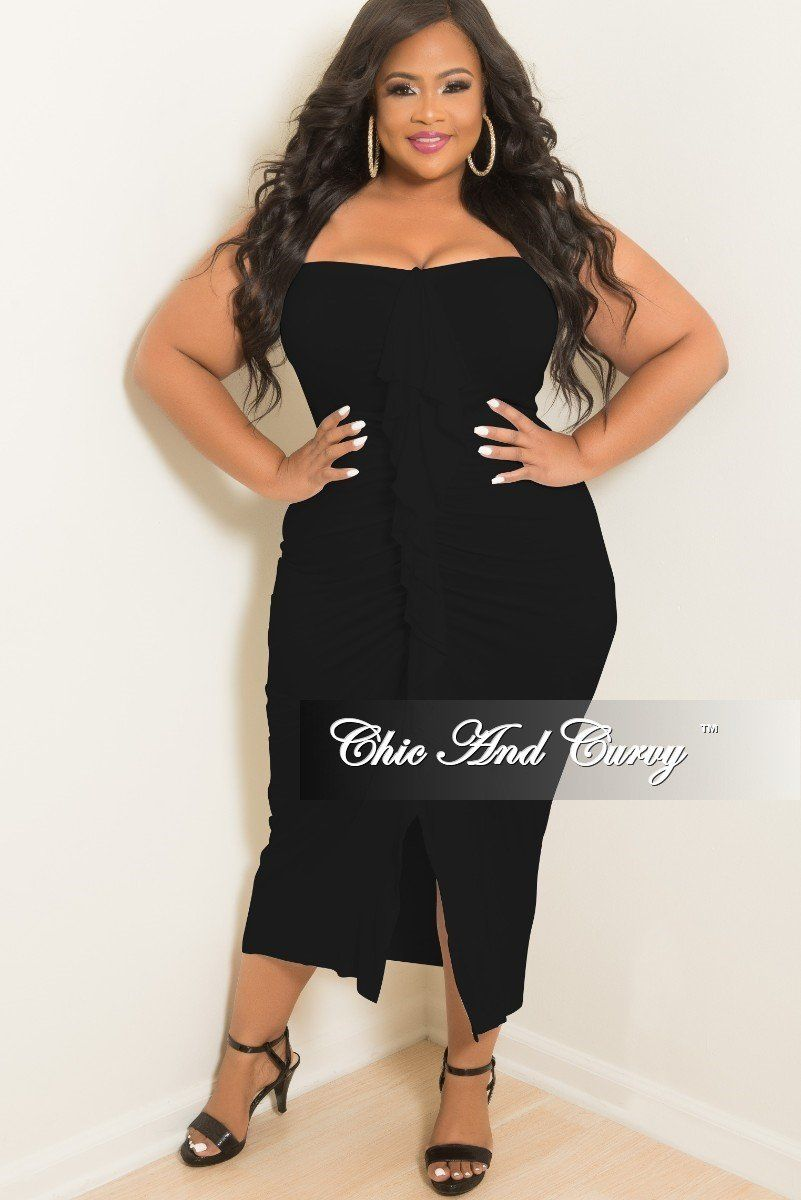 Final Sale Plus Size BodyCon Tube Dress with Center Ruffle ...