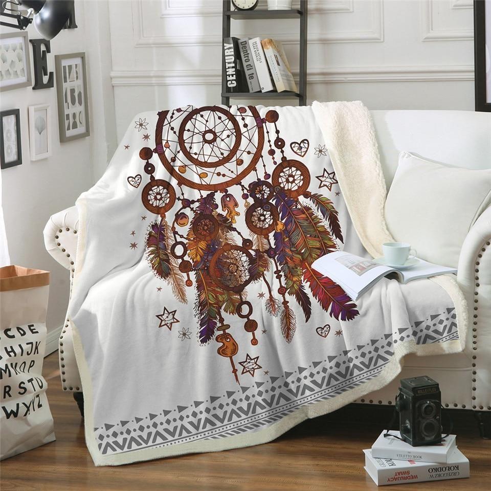 White sherpa fleece feather dreamcatcher throw blanket in