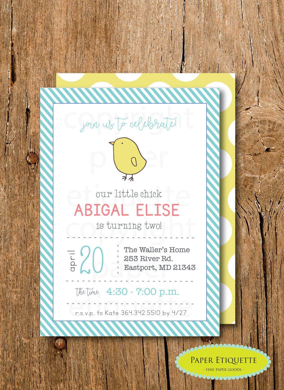 Easter Bunny Chick Invitation