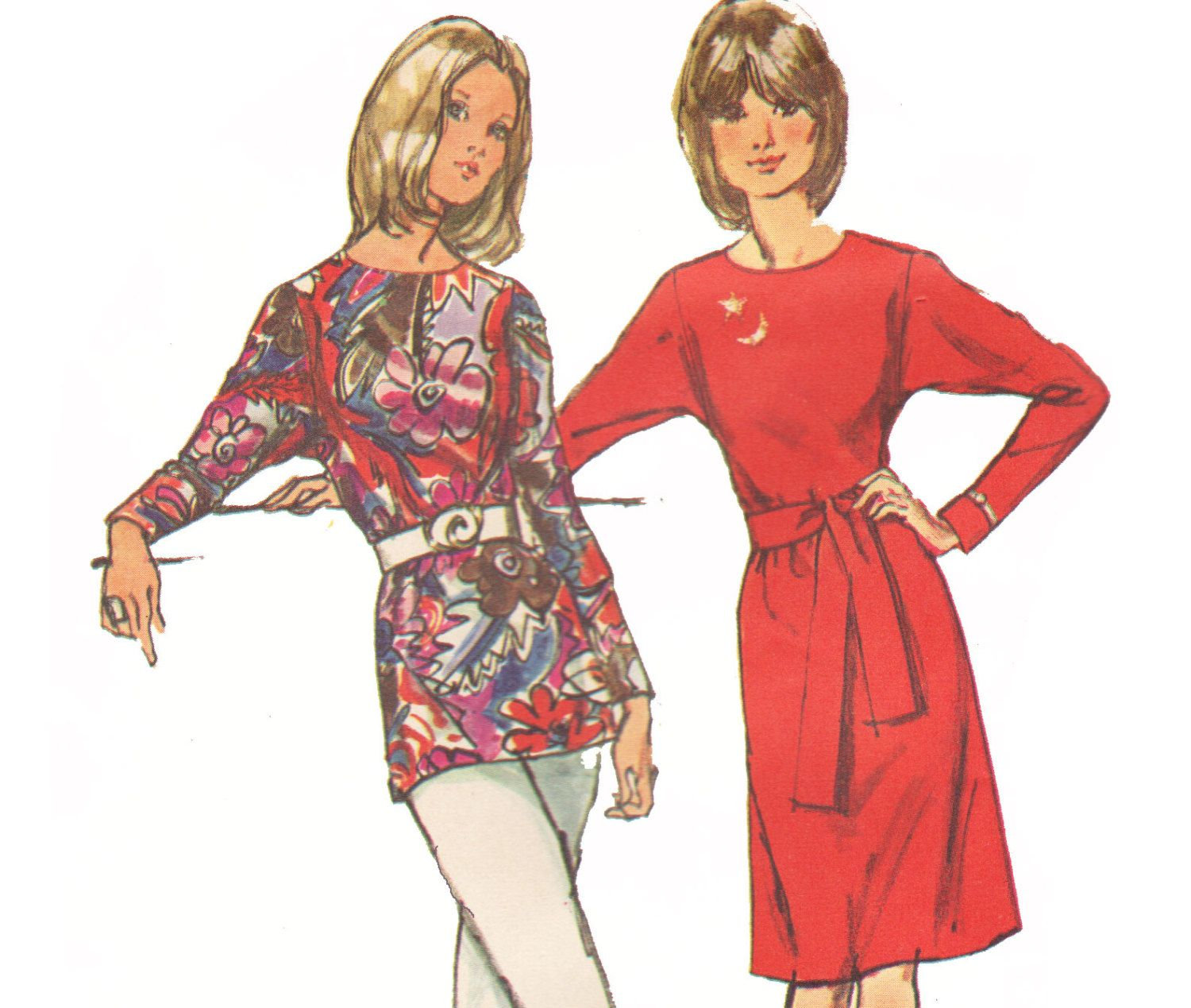 Sewing Pattern for Dress with Dolman Sleeves