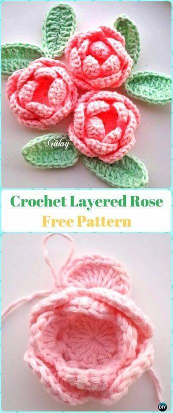 Layered Crochet 3D Rose Flower Free Pattern | Crochet | Pinterest ...