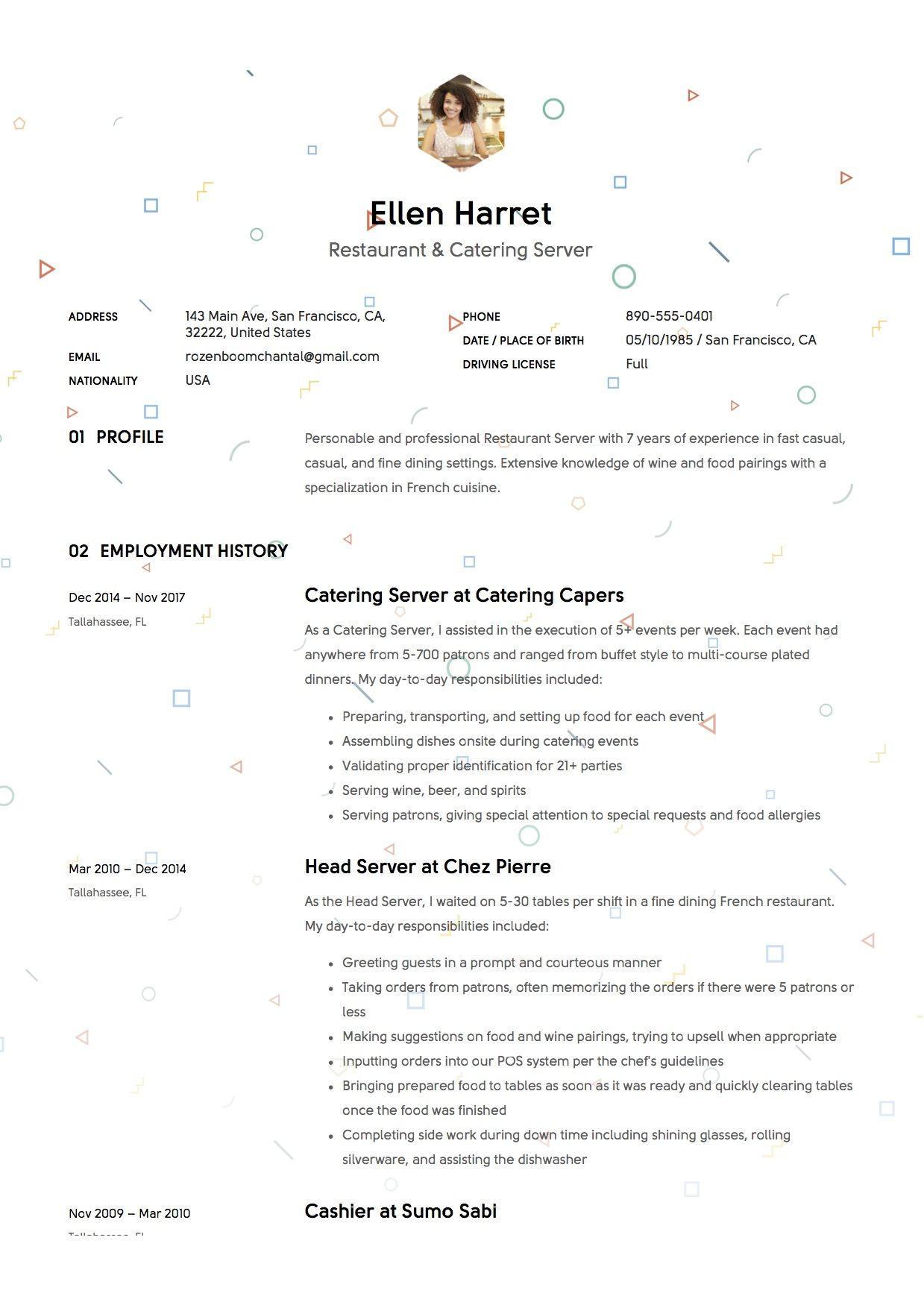 Restaurant Server Resume Sample, Template, Example, CV