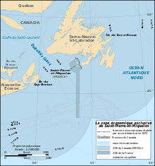 Map In French Of The Exclusive Economic Zone Of The French Oversea - Saint pierre and miquelon map
