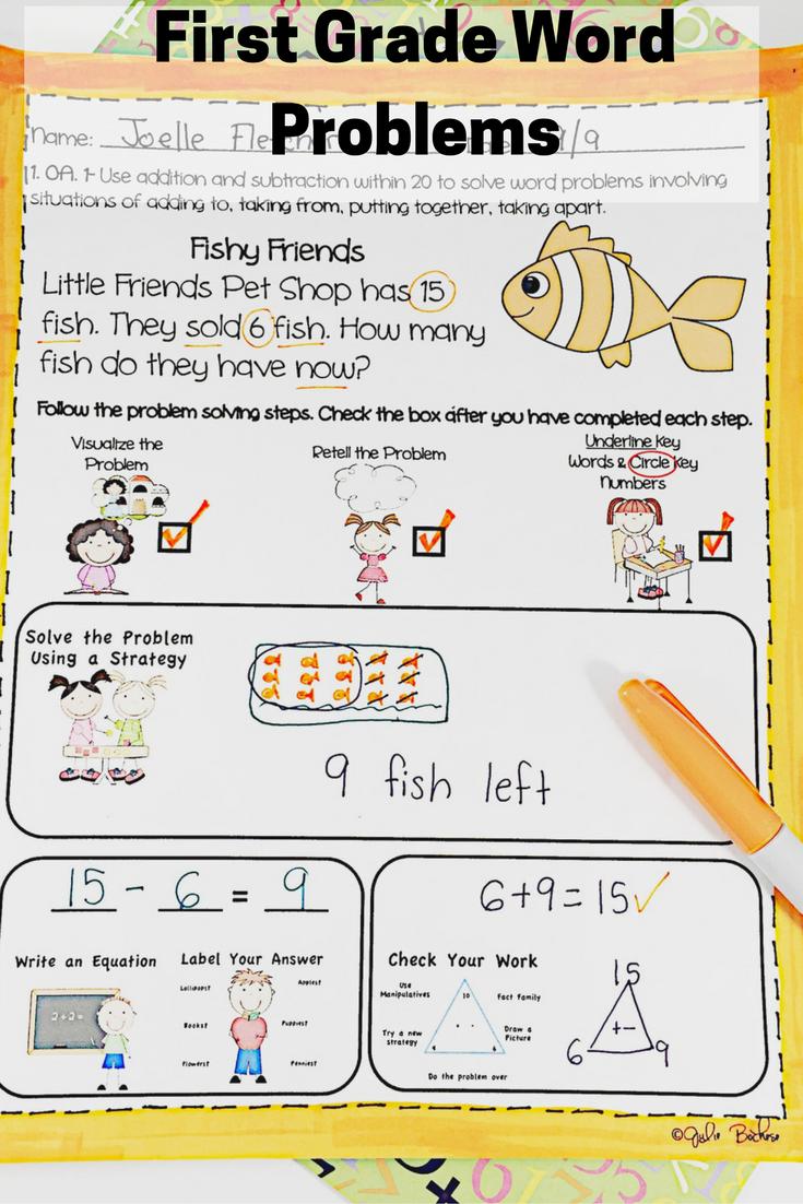 First Grade Word Problems Common Core 1.OA.1 & 1.0A.2 | Common Core ...