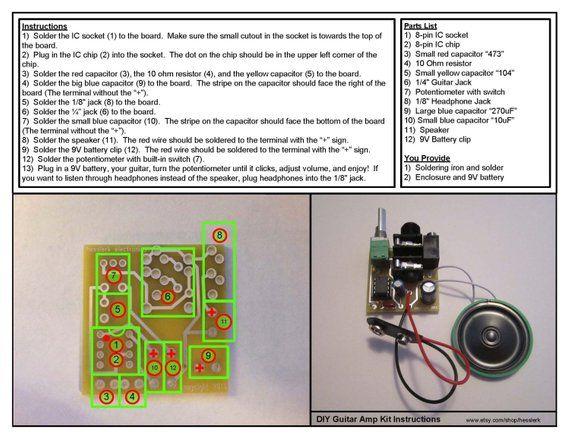 DIY Kit: Portable Guitar Amp, Headphone Amp, MP3 Amp w