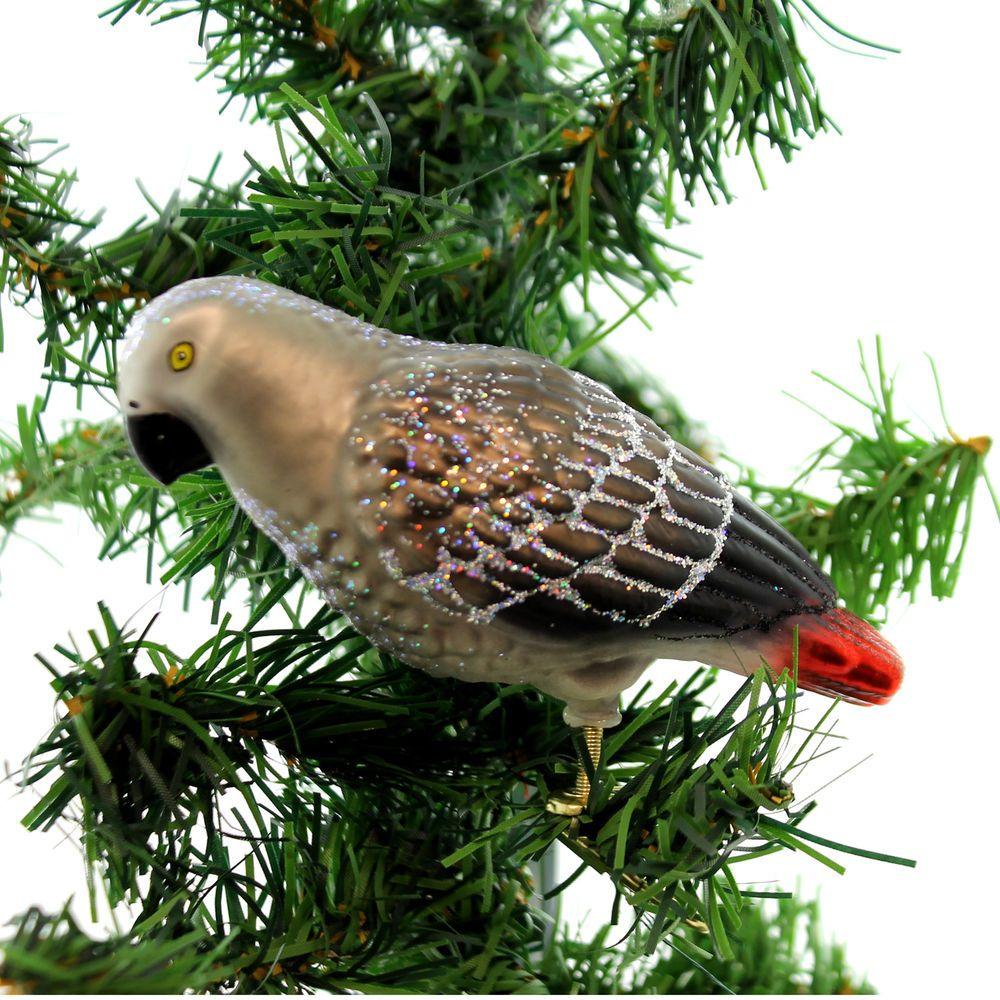 Old World Christmas AFRICAN GREY PARROT Bird ClipOn