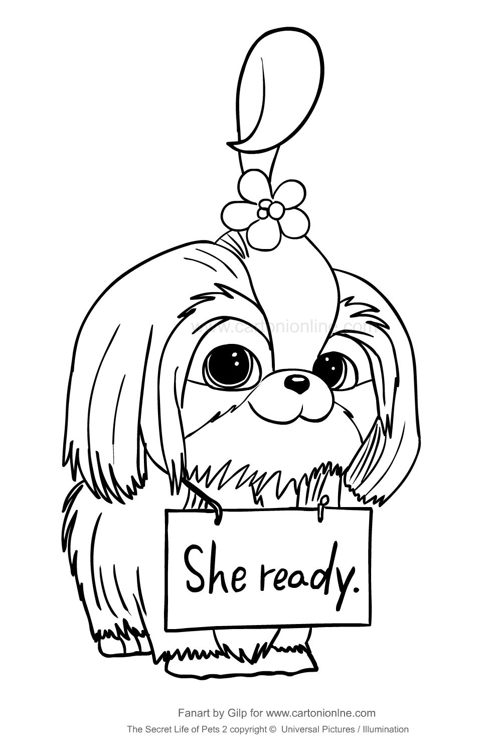 Daisy From The Secret Life Of Pets 2 Coloring Page To Print And