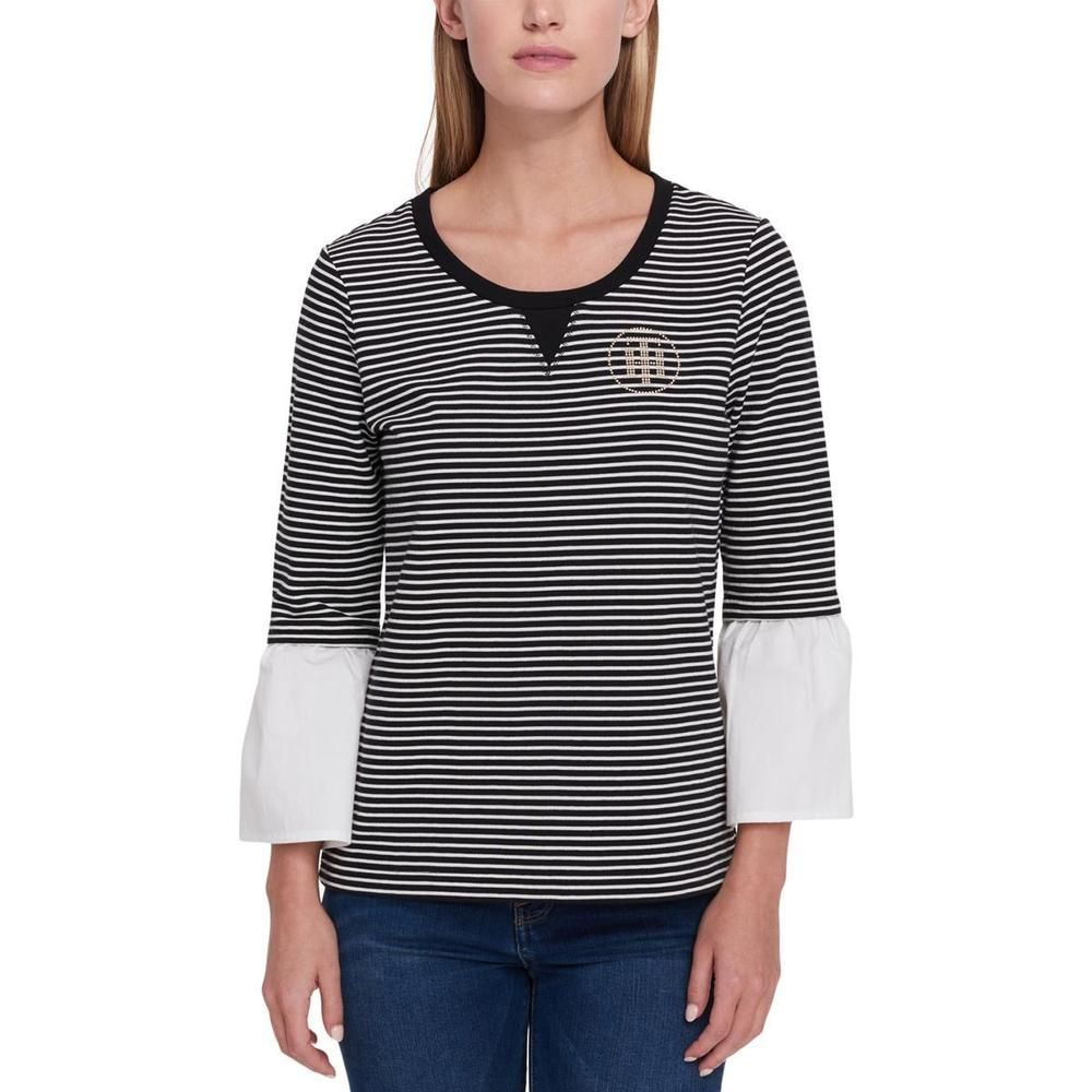 8e4e0487 Tommy Hilfiger Womens B/W Striped Embellished Logo Blouse Top XL BHFO 5461  #fashion #clothing #shoes #accessories #womensclothing #tops (ebay link)