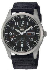 2388b0650f8 Online Seiko Men s SNZG15 Seiko 5 Automatic Black Dial Nylon Strap Watch