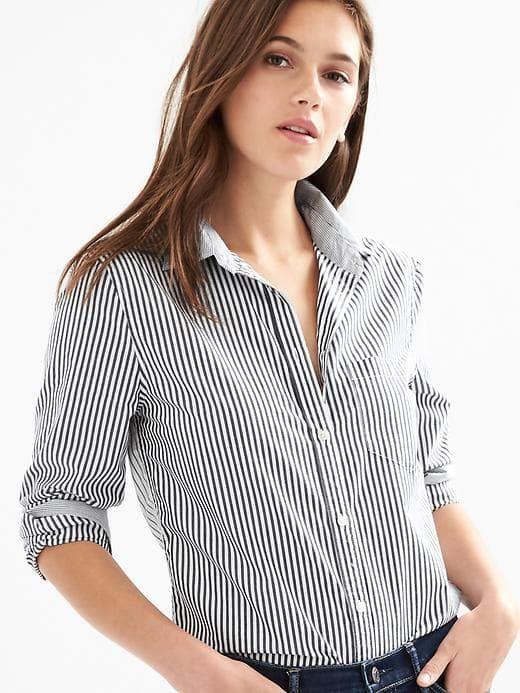 81cb175a Gap Womens Stripe Poplin Fitted Boyfriend Shirt Navy Stripe ...
