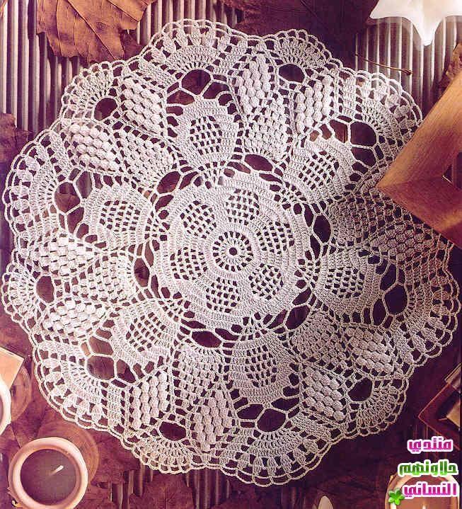 مفارش كروشية مفارش كروشية بسيطة بالبترون مفارش طاولات كروشية مفارش كورشية ازواق بالباترون 2015 منتدي حل Crochet Thread Patterns Crochet Towel Crochet Doilies