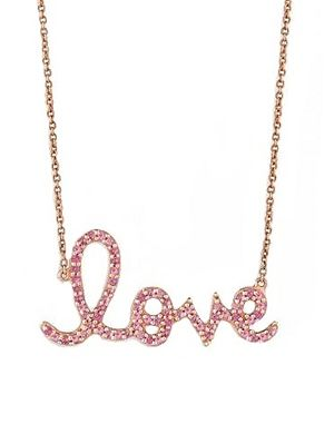 Sydney Evan Large Rose Gold Pink Sapphire Love Necklace at Elements Chicago