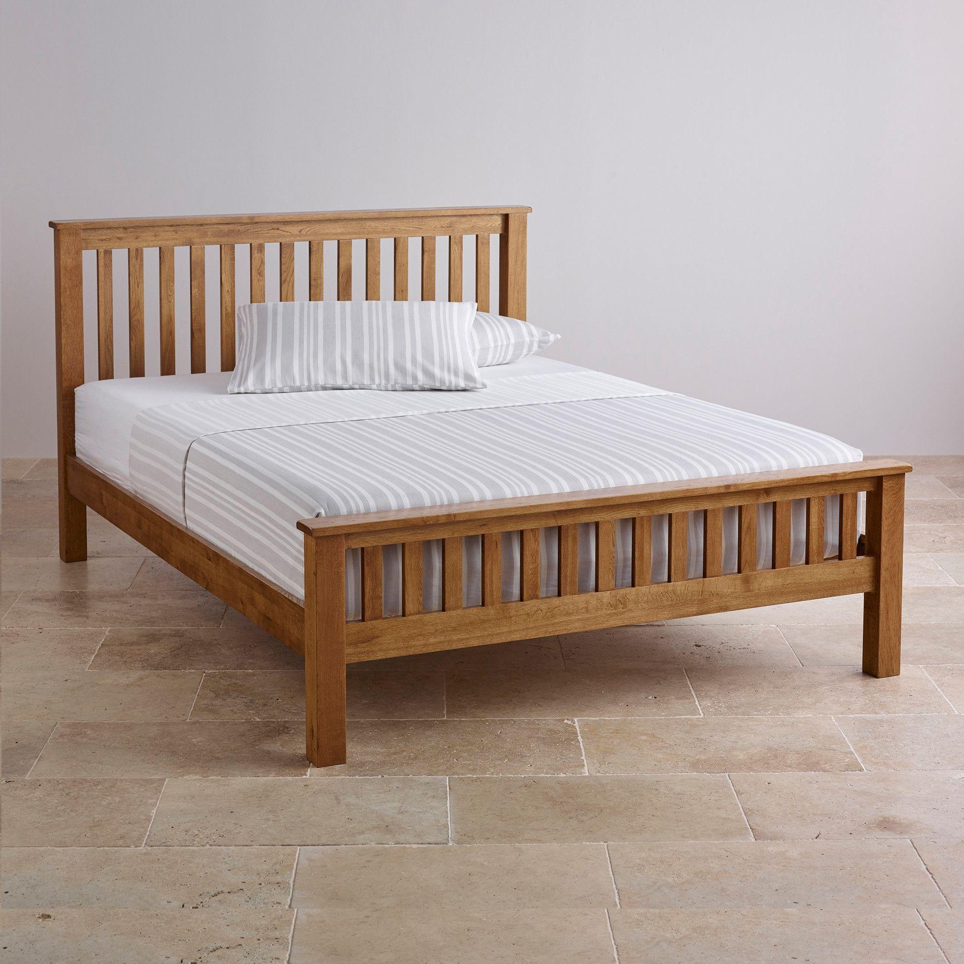 Original rustic solid oak 5ft king size bed bedroom furniture