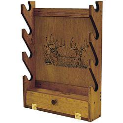 Evans Sports Inc Deer Print Wooden Gun Rack Guns