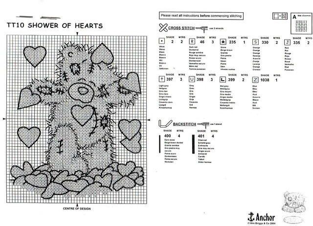 Ours en peluche avec des petits coeurs grille point de croix gratuit (2) | Wirsing