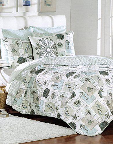 Nicole Miller Quilt Set Sea Life Fish Seashell Bedspread 4pc Full ... : fish quilt bedding - Adamdwight.com