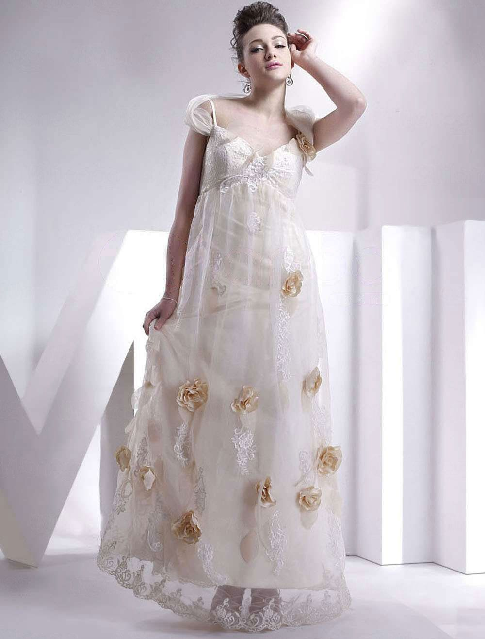 White maternity wedding dress  Lace Casual Spaghetti Applique OffTheShoulder Floor Length Satin