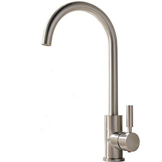 Comllen Best Commercial Brushed Nickel Stainless Steel Single Handle Kitchen Sink Faucet Single Lever Kitchen Fauc Kitchen Faucet Sink Faucets Bar Sink Faucet
