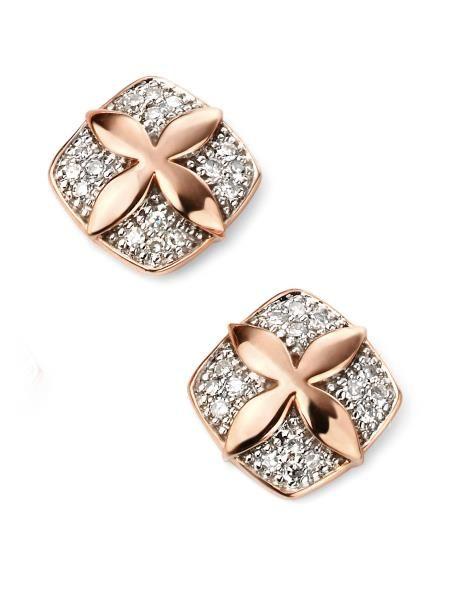 9ct Rose Gold Diamond Flower Stud Earrings Flower Earrings Studs Simple Diamond Earrings Mens Gold Jewelry