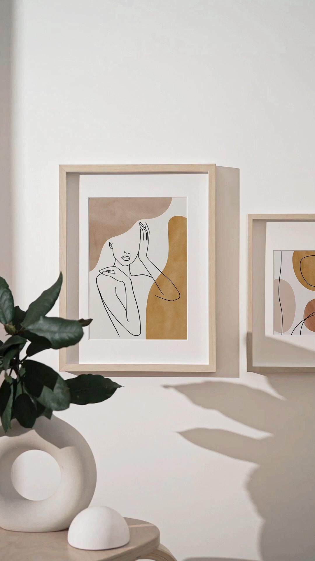 Photo of Abstract Face and Body Line Art Print Set of 2, Woman Face Line Drawing Boho Decor
