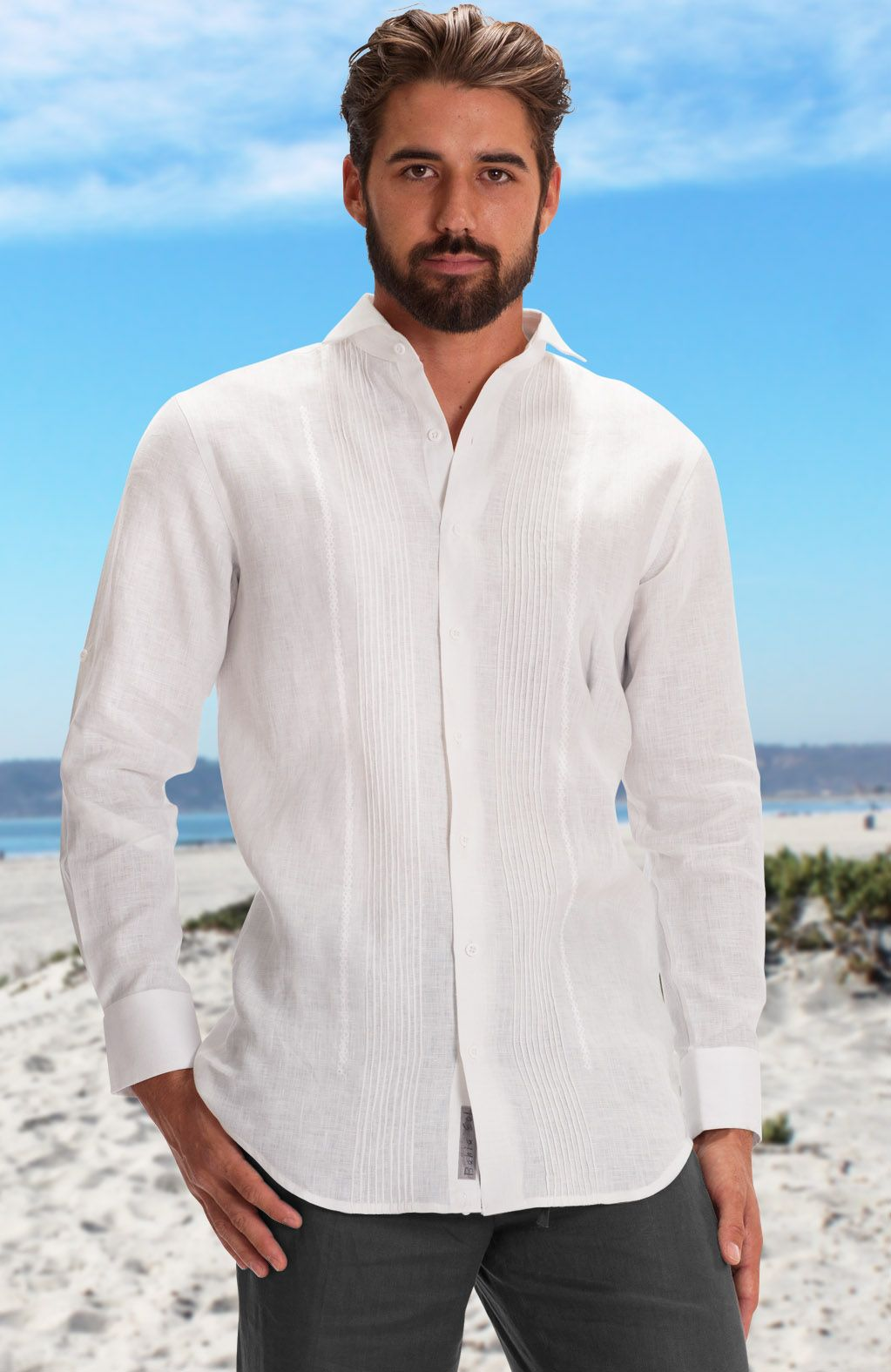 Mauritius White Linen Pintuck With Embroidered Wedding Shirt