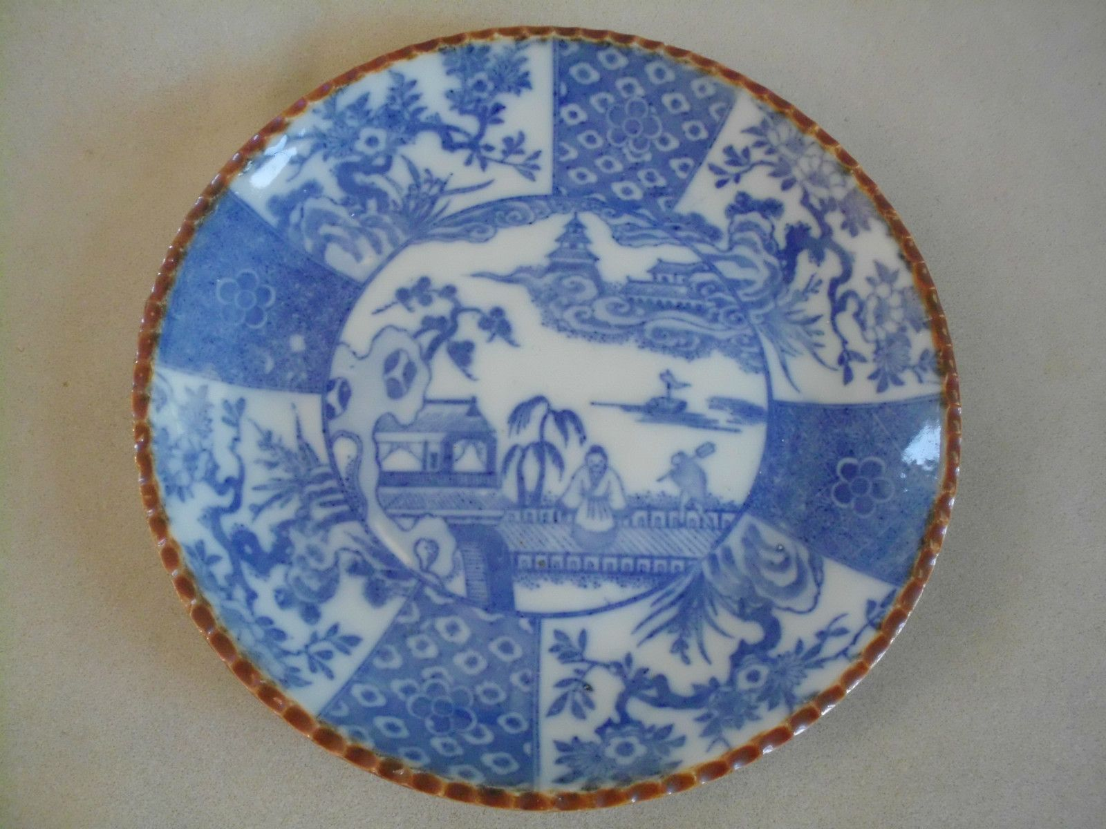 Japanese Underglaze Blue Imari Porcelain Plate Brown Scallop Edge