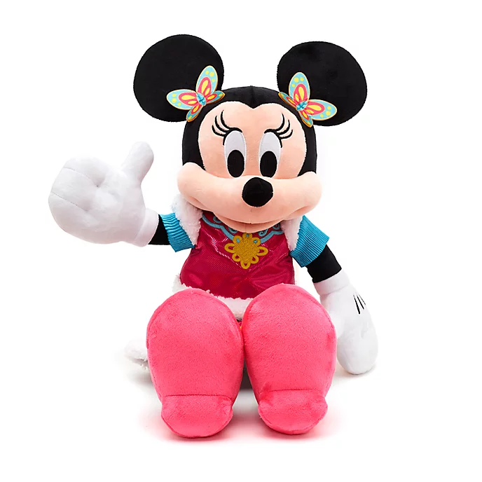 Minnie Mouse Looks Ready To Celebrate Chinese New Year As This Medium Soft Toy Dressed In A Shimmery Outfit Complete With Embroi In 2020 Minnie Minnie Mouse Soft Toy