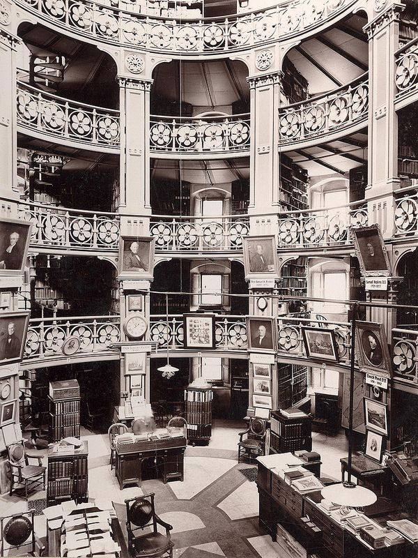 Congregational Library reading room in Boston in the late 19th century.