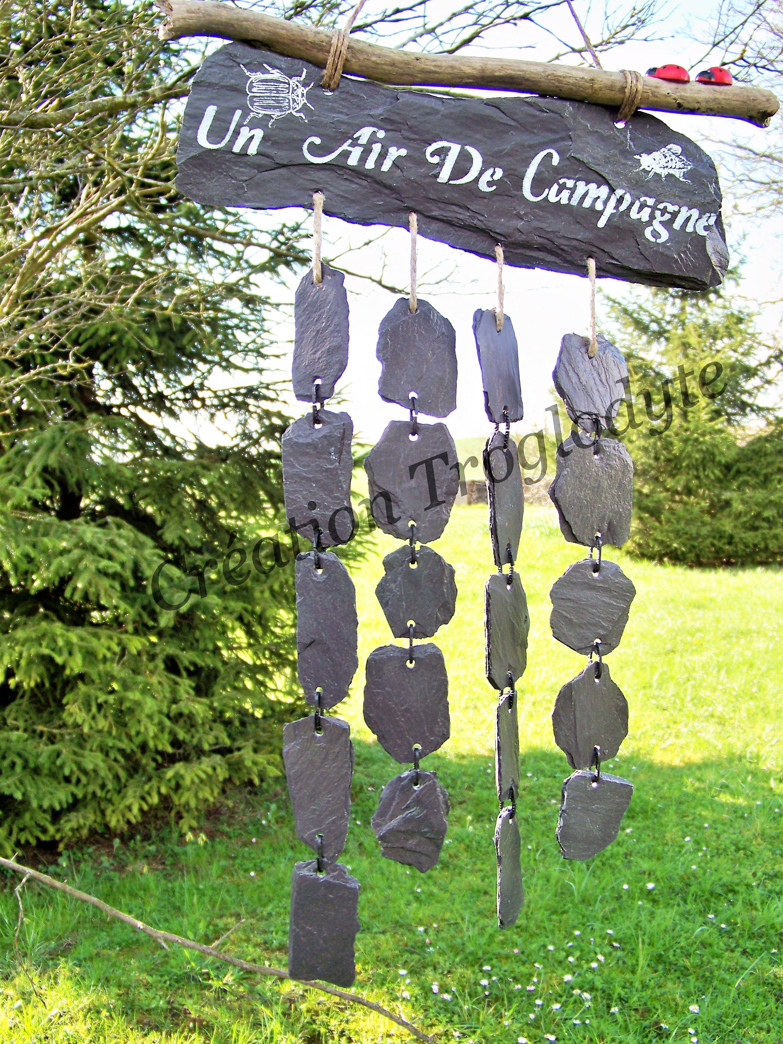 Creationtroglodyte Mobile De Jardin En Ardoise Personnalise Peint